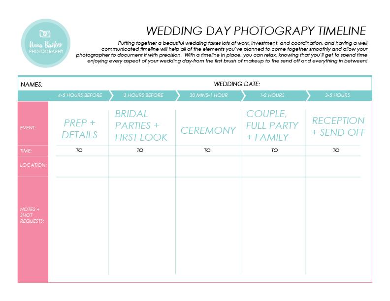 Printables Wedding Day Timeline Worksheet resources anna barker photography